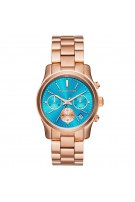 Michael Kors Blue Dial Rose Gold Tone SS Chronograph Quartz Ladies Watch MK6164