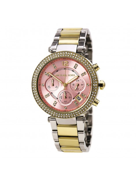 Parker Chronograph Pink Dial Two-tone Ladies Watch MK6140