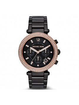 Michael Kors Women's MK5885 Parker Display Analog Black Rose Gold Watch
