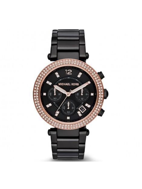 Michael Kors Women's MK5885 Parker Display Analog Black Rose Gold Watch