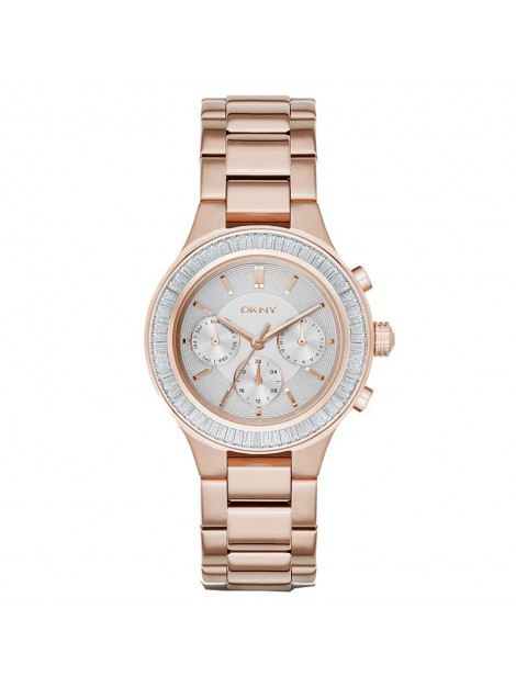 DKNY Women's NY2396 CHAMBERS Analog Display Chronograph Rose Gold Stone Watch
