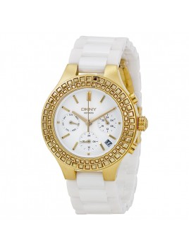 DKNY Chambers Large Ceramic Gold-Tone Chronograph with Glitz Women's watch NY2224