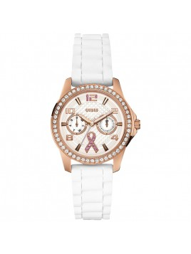 GUESS Women's U0032L3 Breast Cancer Awareness Watch with Rose Gold-Tone White Silicone Strap