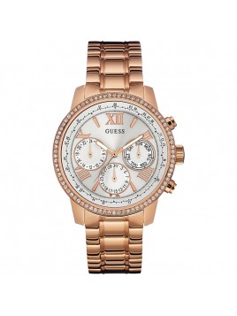 GUESS Unisex U0559L3 Rose Gold-Tone Multi-Function Chronograph Watch