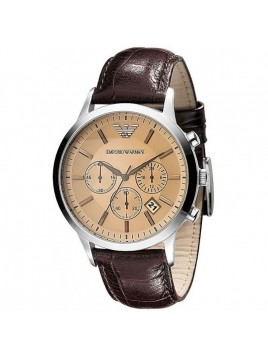 Emporio Armani Classic Chronograph Brown Leather Men's Watch Model-AR2433