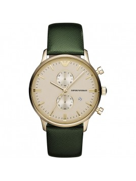 Emporio Armani Chronograph Green Leather Strap Mens Watch AR1722