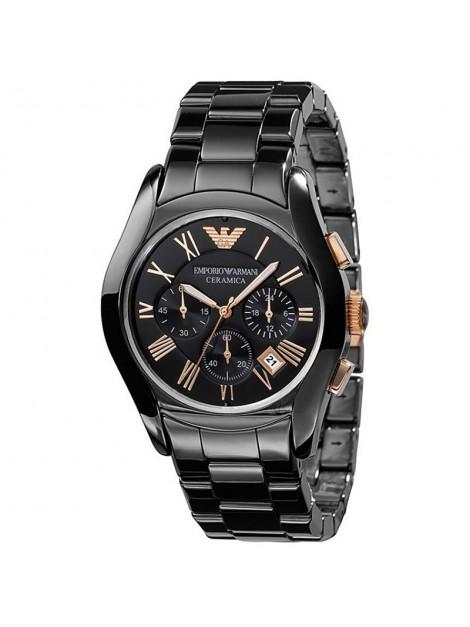 Emporio Armani Men's AR1410 Ceramic Black Chronograph Dial Rose Gold Watch