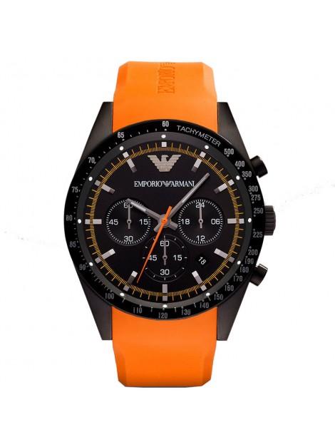 Emporio Armani Mens Chronograph Sportivo Orange Rubber Watch AR5987