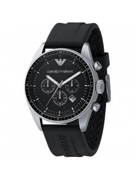 Emporio Armani Sportivo Chronograph Mens Black Rubber Band Watch AR0527