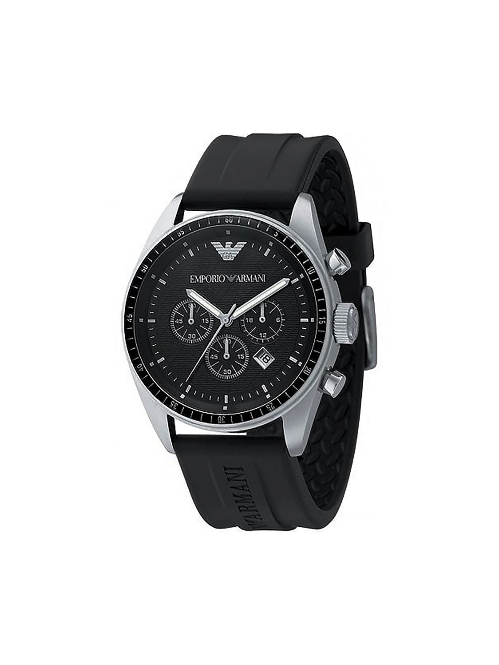 emporio armani sportivo chronograph mens black rubber band