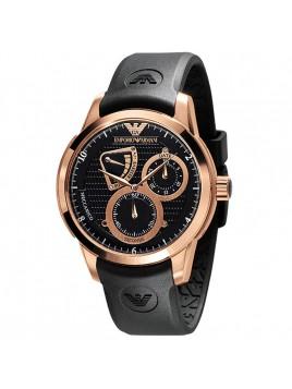 Emporio Armani Meccanico Men's Rubber Rose Gold Watch with Black Dial AR4619