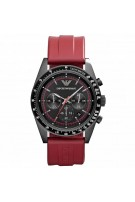 Emporio Armani Men's Sportivo AR6114 Red Rubber Chronograph Watch with Black Dial