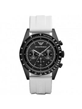 Emporio Armani Men's Chronograph Sportivo White Rubber Watch with White Dial AR6112