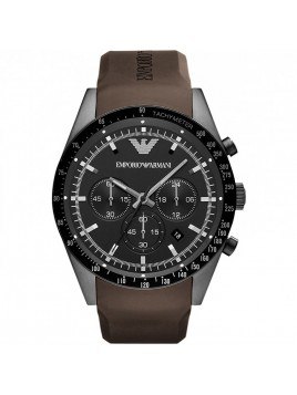 Emporio Armani Sportivo Chronograph Men's Brown Rubber Strap watch AR5986