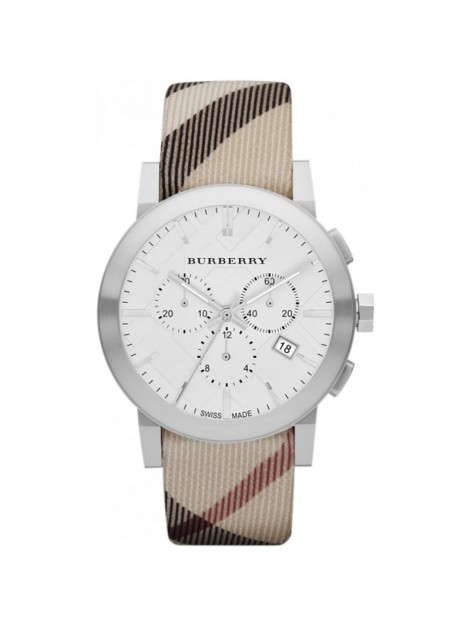 Burberry City Leather Strap Nova Check Mens Chronograph Watch BU9357