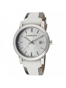 Burberry BU9019 Womens Large Check Leather Fabric Strap Watch