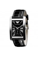 Emporio Armani Mens Luxury Classic Black Leather Strap Watch - AR0143
