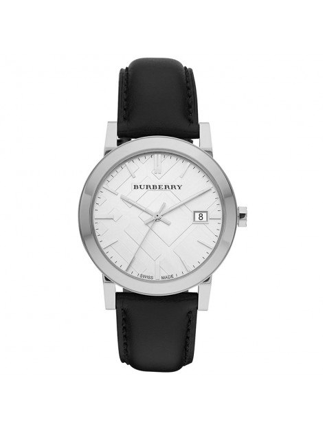 Burberry Men's Luxury Classic Large Check Black Leather Strap Watch - BU9008