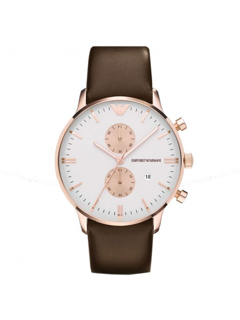 Emporio Armani Men's Classic Rose Gold Brown Leather Quartz Watch with White Dial - AR0398