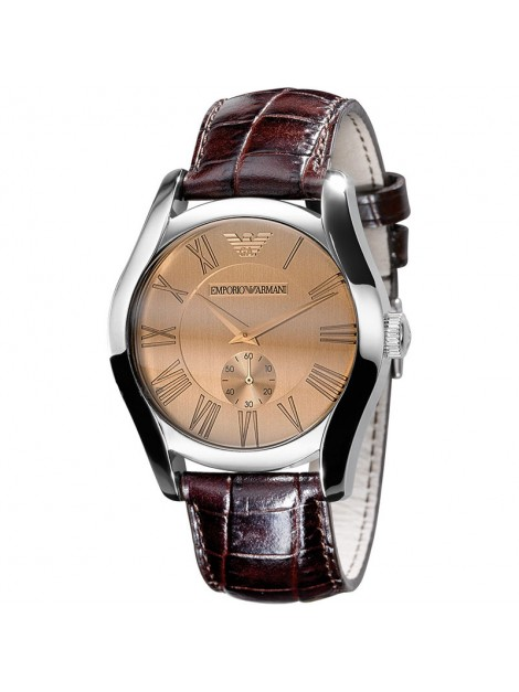 Emporio Armani Men's Classic Luxury Brown Leather Roman Numeral Dial Watch-AR0645
