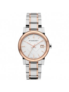 Burberry Women's Large Check Two Tone Silver Rose Gold Bracelet Watch BU9105