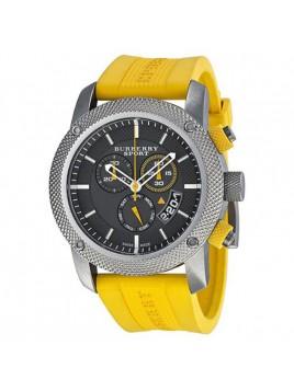 Burberry Sport Chronograph Grey Dial Yellow Rubber Mens Watch BU7712