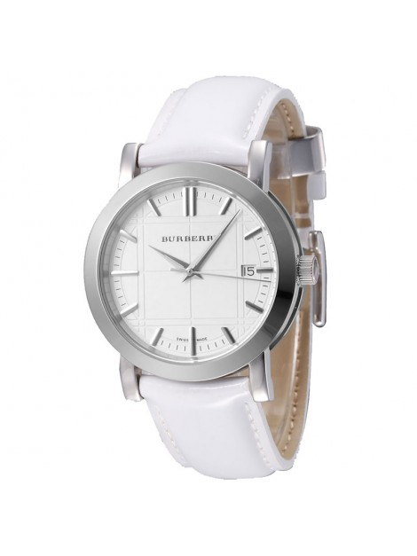 Burberry Unisex Watch Heritage Stainless Steel Case White Dial White Leather Strap Date Display - BU1380