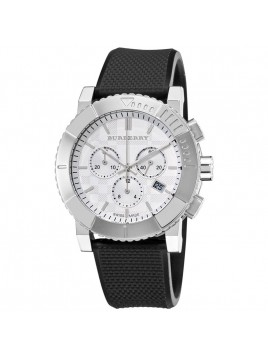 Burberry Men's Trench Chronograph White Dial Chronograph Black Rubber Strap Watch Model-BU2300