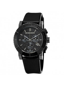 BURBERRY MEN'S TRENCH CHRONOGRAPH BLACK DIAL CHRONOGRAPH BLACK RUBBER STRAP WATCH MODEL-BU2301