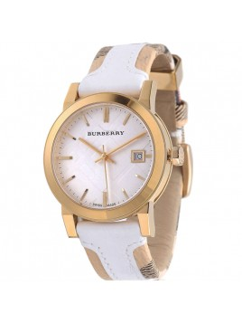 Burberry Women's Gold Large Check Leather Strip On Fabric Watch Model-BU9110