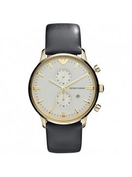 Emporio Armani Men's Classic Gold Case - Grey Leather Quartz Watch with Beige Dial AR0386