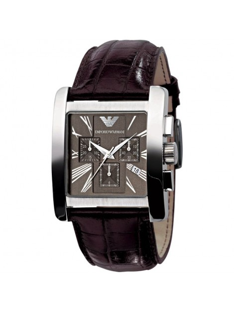 Emporio Armani Men's Chronograph Brown Leather Quartz Watch with Brown Dial AR0185