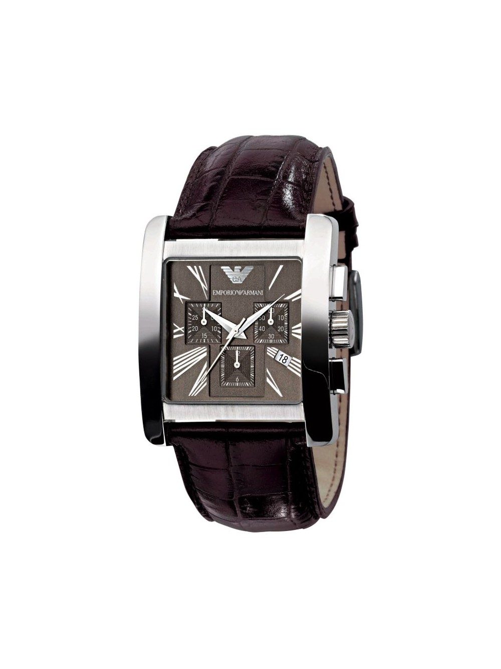 emporio armani men s chronograph brown leather watch brown dial ar0185