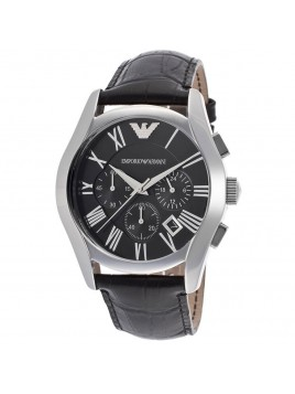 Emporio Armani 42mm Stainless Steel Case Black Leather Chronograph Men's Watch AR1633