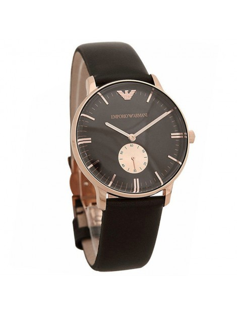 EMPORIO ARMANI CLASSIC ROSE GOLD MENS BROWN LEATHER WATCH AR0383