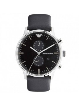 Emporio Armani Men's Black Leather Chronograph Watch Model - AR0397