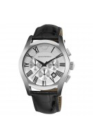 Emporio Armani Men's Silver Dial Chronograph Black Leather Watch Model AR0669