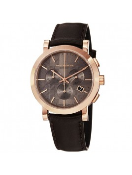Burberry Men's Chronograph Rose Gold Brown Leather Strap Watch BU1863