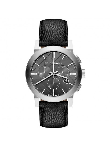 Burberry Chronograph Black Dial Black Leather Mens Watch BU9362