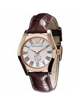 Emporio Armani Women's Rose Gold Silver Dial Brown Leather Watch AR0678