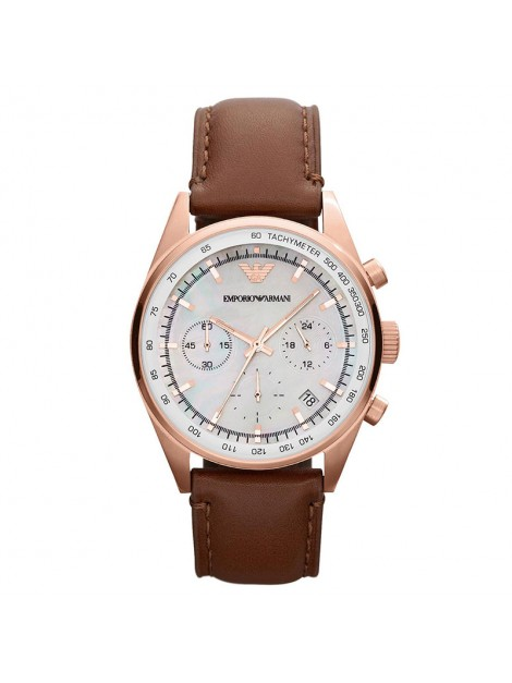 Emporio Armani Classic Rose Gold Brown Leather Ladies Chronograph Watch AR5996