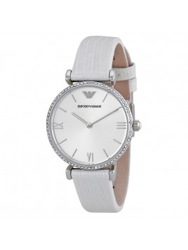 Emporio Armani Retro Silver Dial White Leather Strap Ladies Stone Watch AR1680