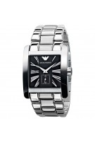 Emporio Armani Gents Stainless Steel Bracelet Watch with Black Dial AR0181