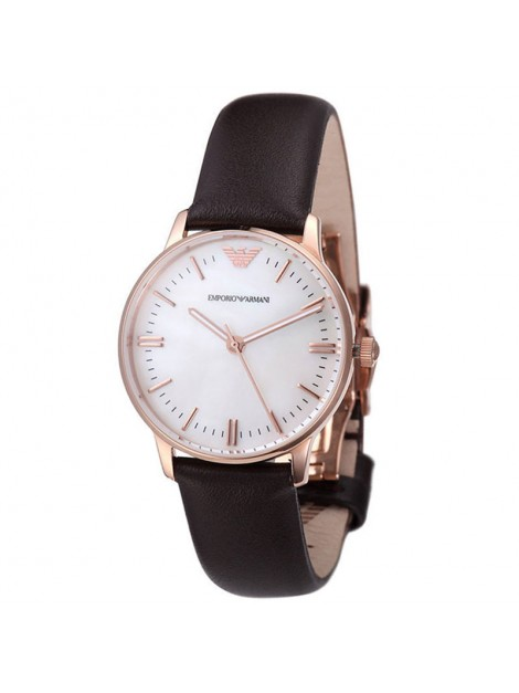 Emporio Armani Classic Rose Gold Leather Ladies Watch AR1601