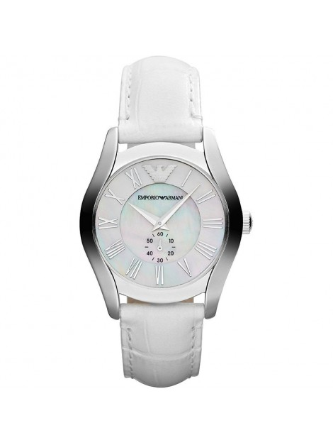 Emporio Armani Women's Mother Of Pearl Dial White Leather Watch AR1669