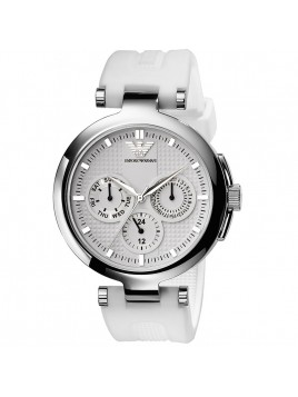 Emporio Armani Multifunction White Rubber Strap Silver Dial Women's watch AR0736