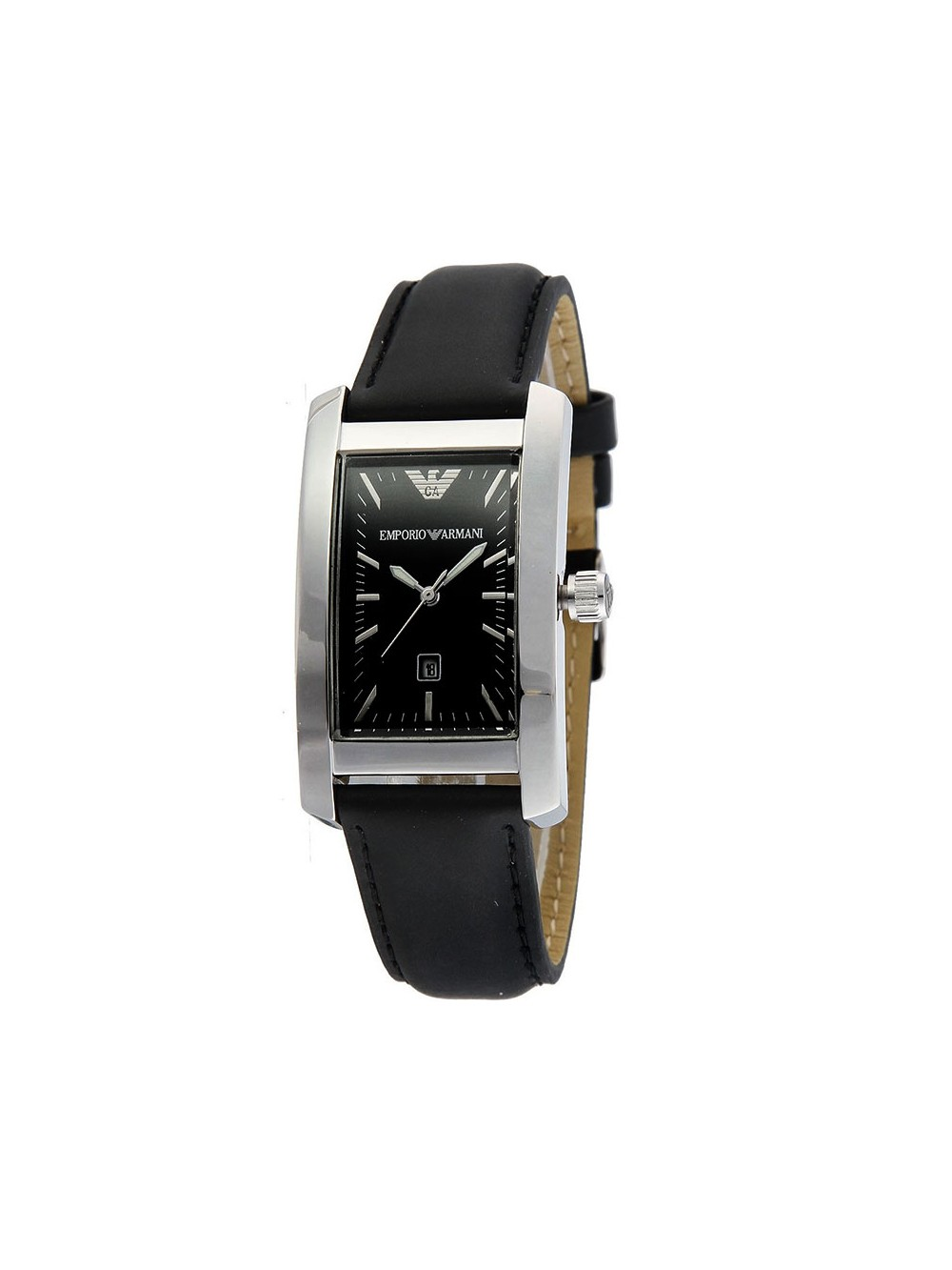 Emporio Armani Black Leather strap ladies dress watch AR0122