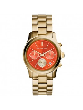 Michael Kors MK6162 Ladies Runway Gold Plated Chronograph Orange Dial Watch