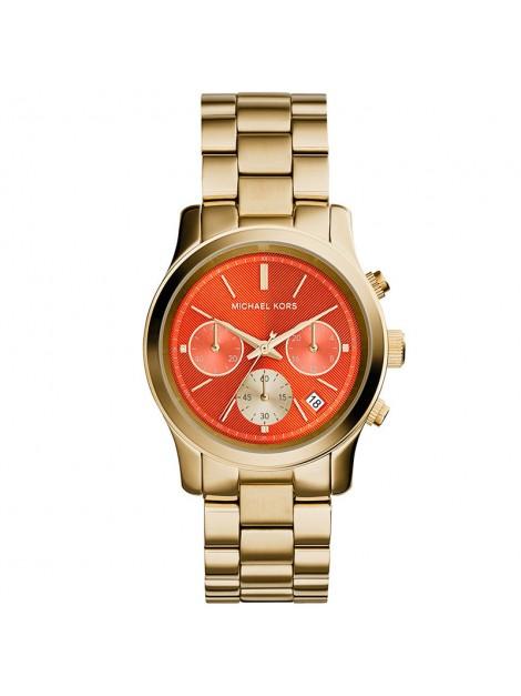 Michael Kors MK6162 Ladies Runway Gold Plated Chronograph Orange Dial Watch
